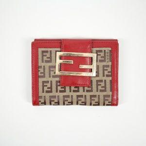 Fendi Vintage Monogram Wallet Brown Red